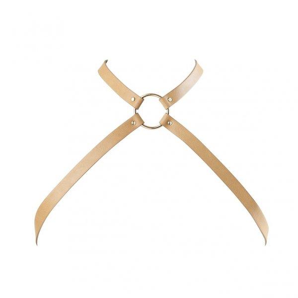 Bijoux Indiscrets MAZE Chest Thin Harness - uprząż skóropodobna (brązowy)