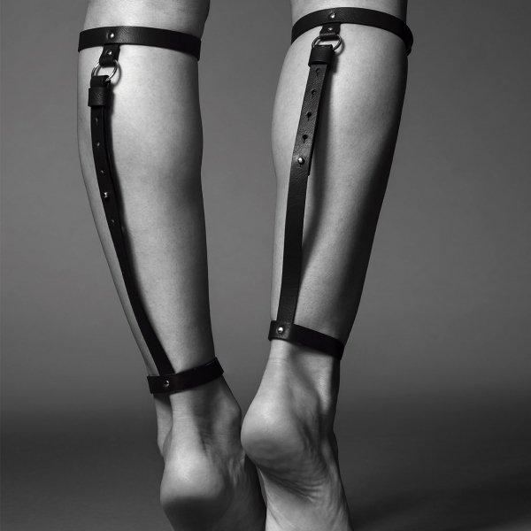 Bijoux Indiscrets MAZE Back Leg Garter - uprżąż na łydki skóropodobna (czarny)