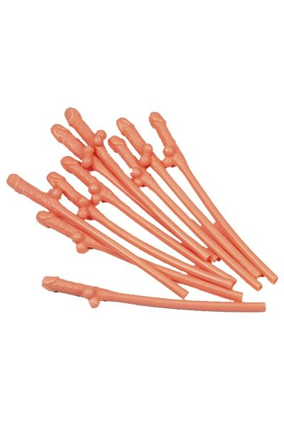 Plastic Dick Sipping Straw 10 Pcs