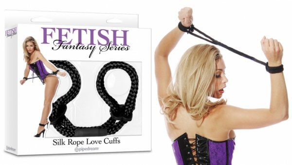 Ff Silk Rope Love Cuffs Black
