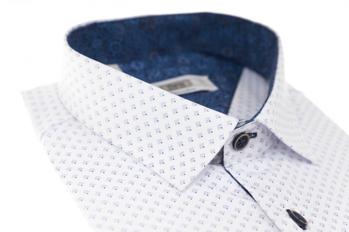Koszula męska Slim biała w granatowy wzorek wzory  Yna1n