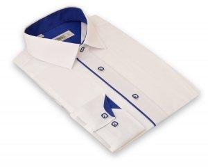Koszula męska Slim - biała z szafirowymi dodatkami