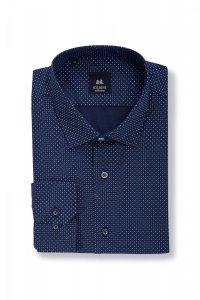 Koszula męska Slim - granatowa w niebiesko-biały  wzór (97% bawełny 3% lycry)
