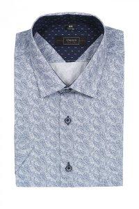 Koszula męska Slim - biała w niebieski wzór - zakręcone łezki