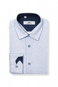 Koszula męska Slim - biała w granatowo-szafirowy wzorek