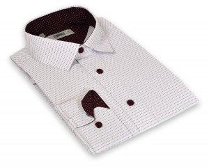 Koszula męska Slim - biała w bordowy wzór