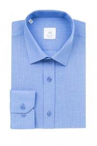 Koszula męska slim - niebieska z tkaniny lnianej