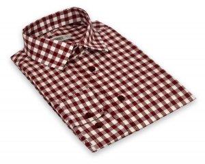 Koszula męska Slim - bordowo-białą kratkę