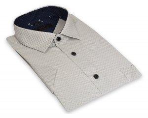 Koszula męska Slim - biała w jasnobrązowy wzór