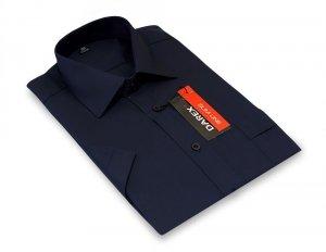 Koszula krótki rękaw Slim Line / Slim Fit  - granatowa gładka