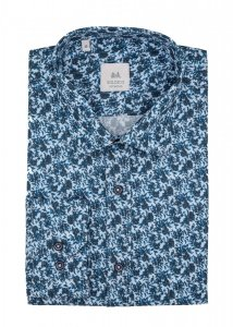 Koszula męska Slim - niebieska w roślinny wzór
