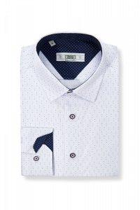 Koszula męska Slim - w czerwone i niebieskie kropeczki