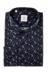 Koszula męska Slim - czarna w abstrakcyjny wzór