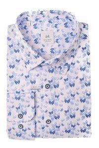 Koszula męska Slim - biała w niebieskie motylki