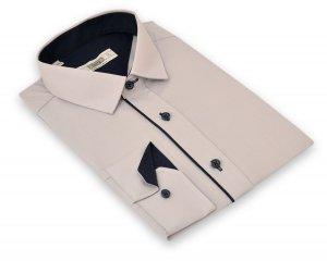Koszula męska Slim - siwa z granatową wypustka