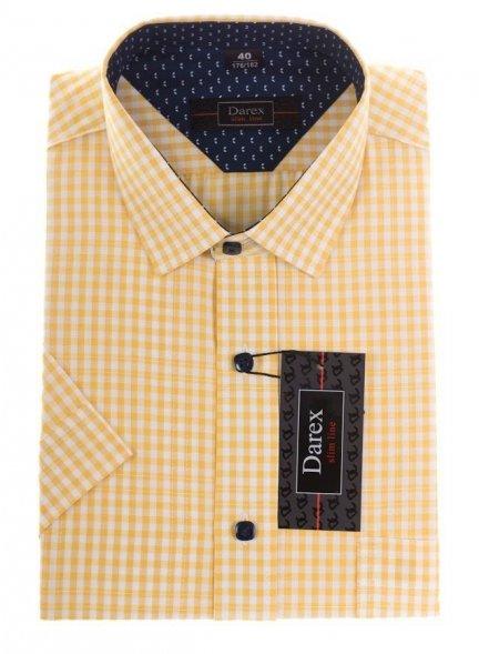 7be62107ce71d2 Koszula krótki rękaw Slim - w żółto-białą kratkę - kratka - Krótki rękaw