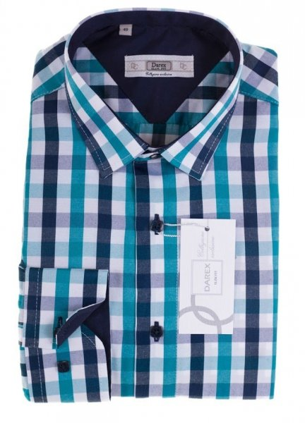 ab385f88b3a16c Koszula z długim rękawem Slim Fit - w kolorową kratę - Długi rękaw
