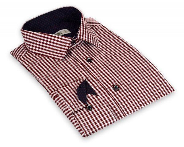 Koszula męska Slim - w bordową kratkę