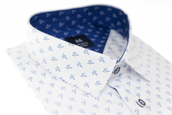 Koszula męska Slim - biała w drobny niebieski wzorek
