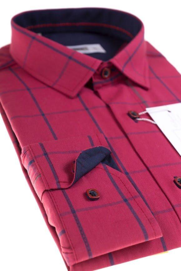 Koszula z długim rękawem Slim Fit/Slim Line - w czerwono-granatowo-szarą kratę