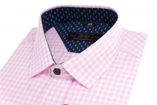 Koszula krótki rękaw Slim - w różowo-białą kratkę