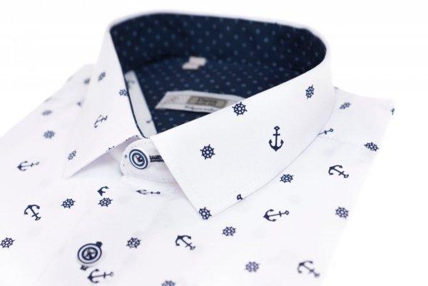 Koszula męska Slim - biała w granatowy marynarski wzorek