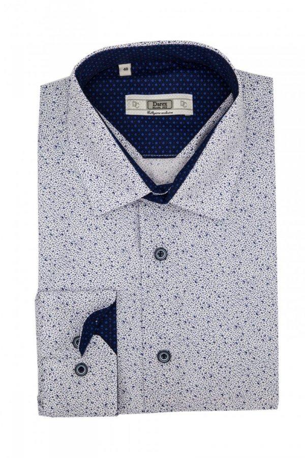 Koszula Slim - biała w granatowy wzór