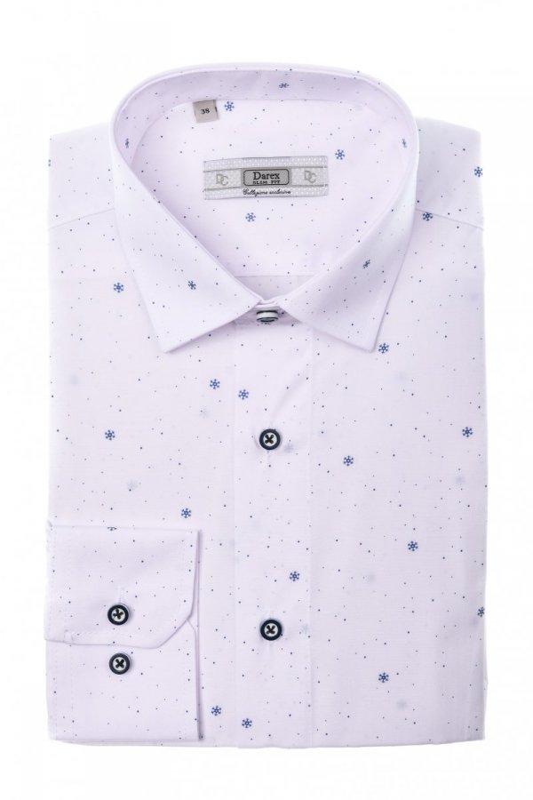 Koszula męska Slim - biała w śnieżynki