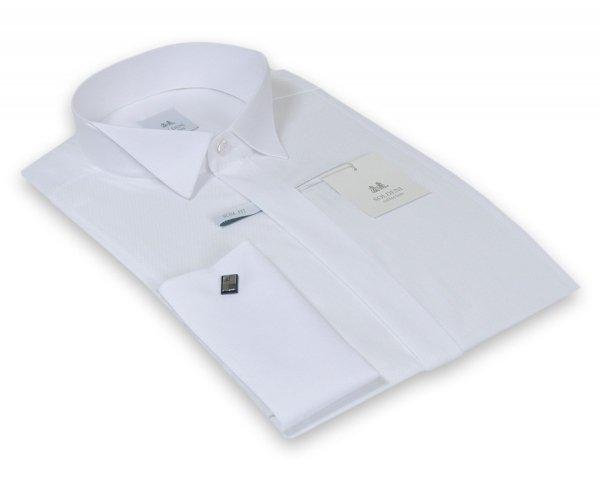 Koszula męska Slim na spinkę - ecru