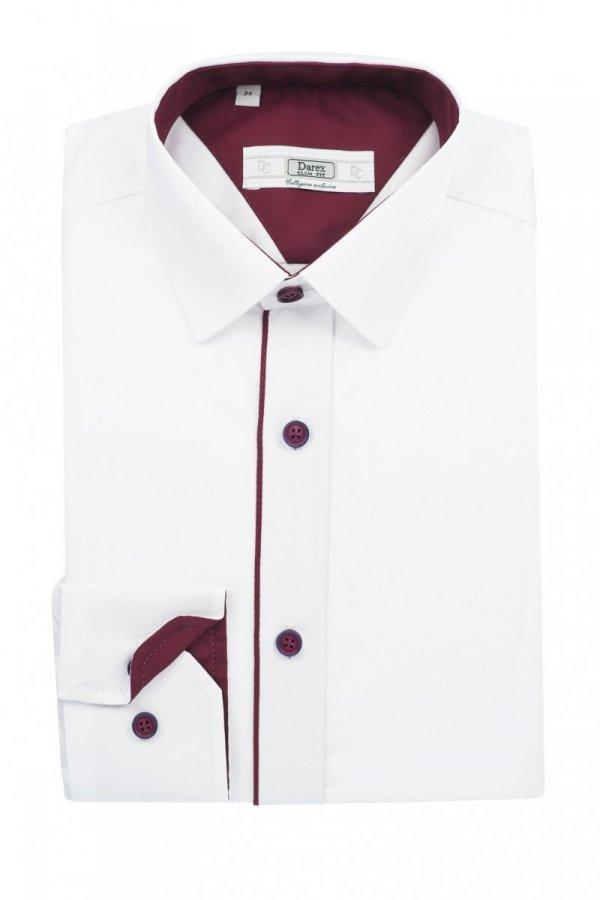 Koszula dziecięco-młodzieżowa slim - biała z bordowymi dodatkami