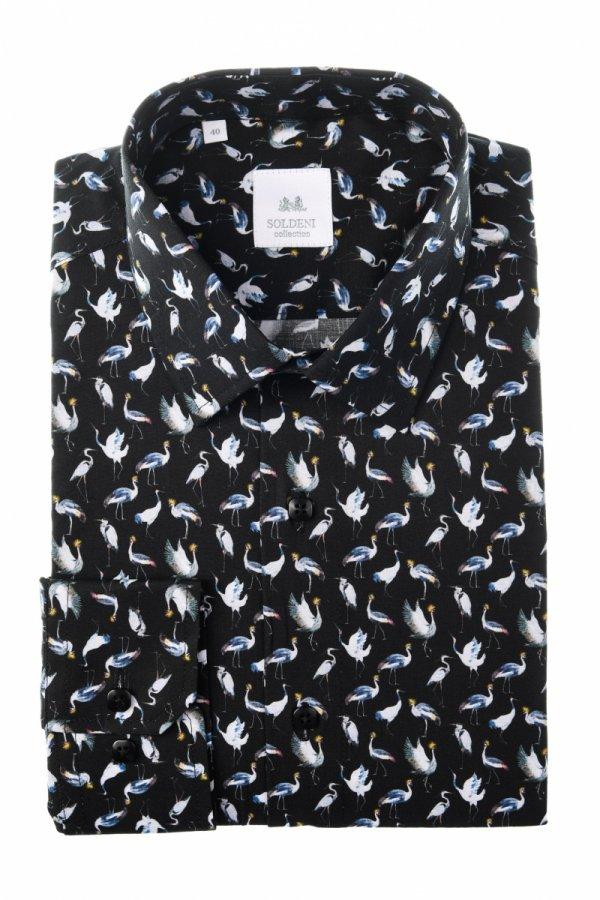 Koszula męska Slim - czarna w żurawie