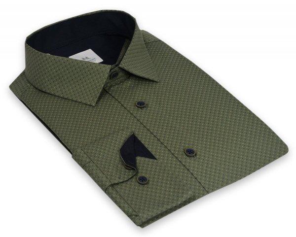Koszula męska Slim - zielona w granatowo-zielony wzorek