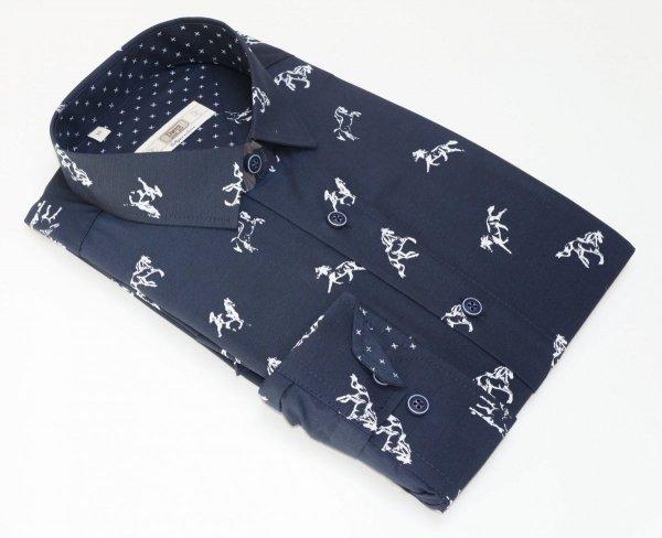 Koszula męska Slim - granatowa w konie
