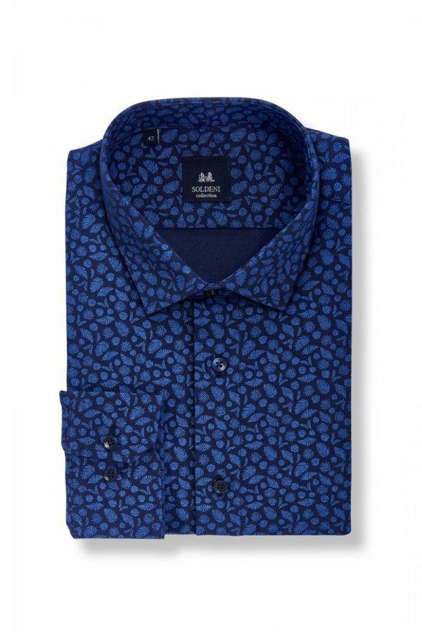 Koszula męska Slim - granatowa w niebieskie, palmowe liście