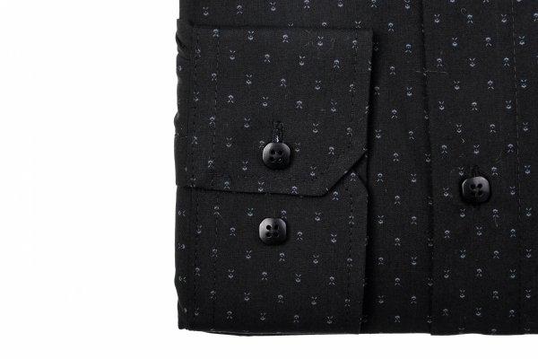 Koszula męska Slim - czarna w biały wzorek
