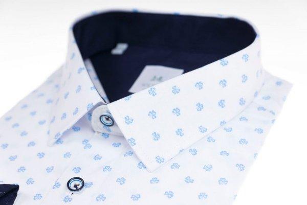 Koszula męska Slim - biała w drobny jasno-niebieski wzorek