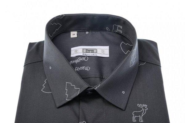 Koszula męska Slim - grafitowa w świąteczny wzór