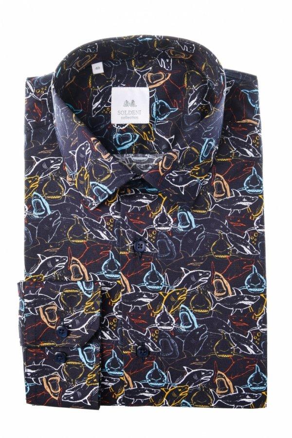 Koszula męska Slim - w kolorowe rekiny