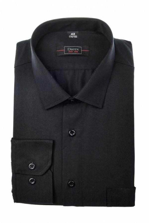 Koszula męska Slim - czarna w paseczek