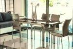 Stół szklany rozkładany GD-018 ciemny beż