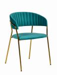 Krzesło MARGO turkusowy/złoty