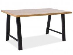 Stół ABRAMO 180x90 okleina naturalna dąb/czarny