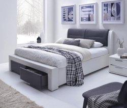 Łóżko tapicerowane z szufladami CASSANDRA S 160 cm czarny/biały