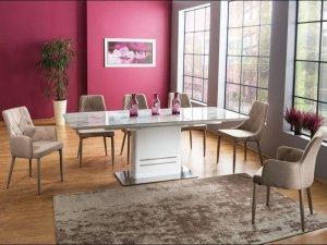 Stół rozkładany CARTIER 160(210)x90 marmur/biały