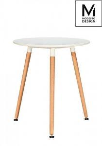 MODESTO stół NOLAN FI 60 biały - blat MDF, nogi bukowe