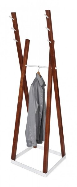 Wieszak stojący drewno/metal COMBO C-2 kasztan/biały