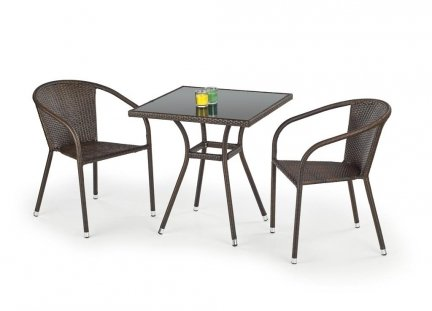 Stół ogrodowy MOBIL ciemny brąz/czarny