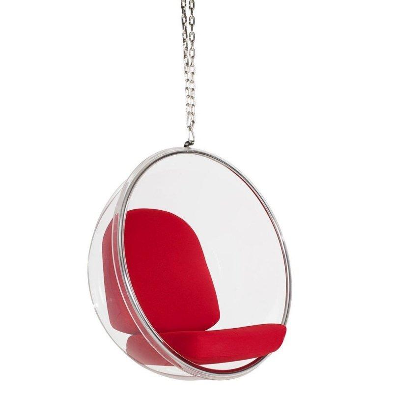 Fotel wiszący BUBBLE poduszka czerwona