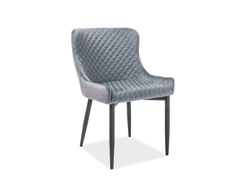 Krzesło COLIN VELVET szaro-czarne