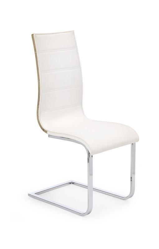 Krzesło K104 białe-dąb sonoma eco skóra